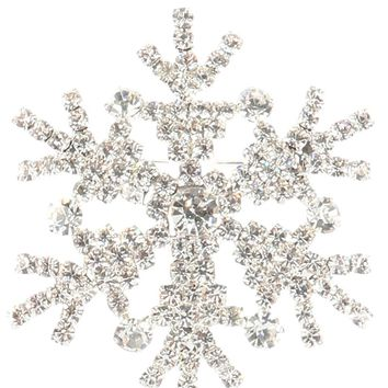 Clear Rhinestone Metal Snowflake Pin And Brooch
