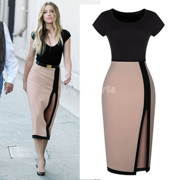 Summer Spring 2014 Women Dresses Sexy Open Fork High Waist Pencil Vintage Dress Cocktail Party Bodycon Tunic Dress SV003300 = 5617718785