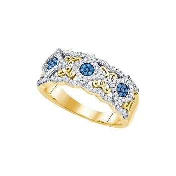 10kt Yellow Gold Womens Round Blue Colored Diamond Cluster Filigree Band 3/8 Cttw
