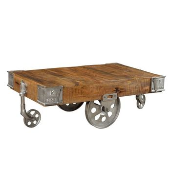 Industrial Wood Cart Coffee Table - Silver