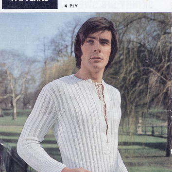 Original - His And Her Skinny Rib Sweater With Or Without Sleeves - 70's Vintage Knitting Pattern - Bestway Pattern 5006 -