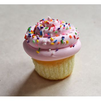 Strawberry Vanilla Rainbow Sprinkles Cupcake Polymer Clay Miniature Food Magnet