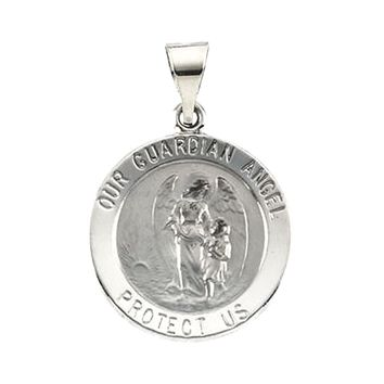 14k White Gold Guardian Angel Medal Charm Pendant - 18.25mm