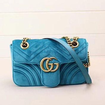 Gucci Women Fashion Trending Leather Satchel Shoulder Bag Crossbody Lack blue G