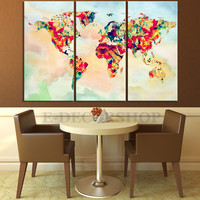 Canvas Print WORLD MAP on Watercolor Background   - Triptych World Map 3 Piece Canvas Art Print - Ready to Hang - Colorful Mix World Map