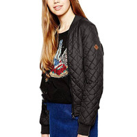Black Quilted Bomber Jacket with Ribbed Collar