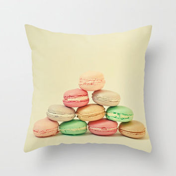 French Macarons Throw Pillow by Cassia Beck