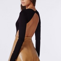 Missguided - Long Sleeve Backless Bodysuit Black