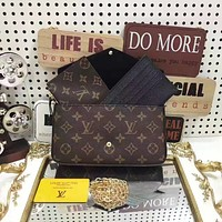 LV Louis Vuitton WOMEN'S MONOGRAM LEATHER FELICIE CHAIN SHOULDER BAG