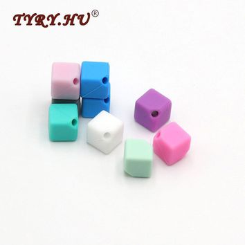 TYRY.HU Original 9mm Cube Silicone Bead 10Pcs Baby Teether /Pacifier Chain Beads BPA Free Square Silicone Teething Necklace