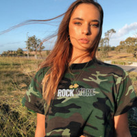 Sexy Green Camouflage Printed Short Sleeve T-Shirt [3881017376865]