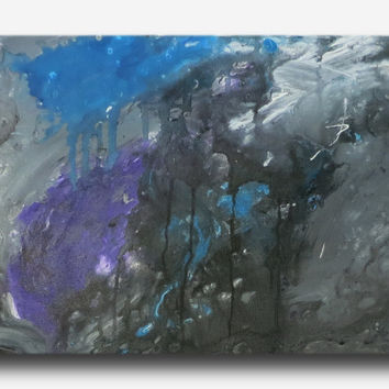 Abstract art canvas grey purple