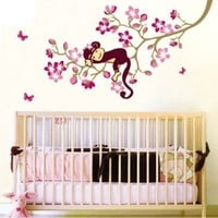 WallStickersUSA Wall Sticker Decal, Hanging Monkey with Pink Flowers