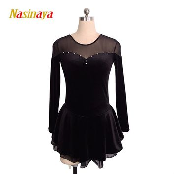 Customized Costume Ice Skating dress Figure Skating Dress Rhythmic Gymnastics Velvet Adult Child Girl Skirt Performance clothing