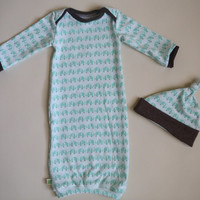 Newborn gown with matching hat. elephants theme. organic fabric. Knit. Soft. unisex. Ready to ship! Take home outfit.