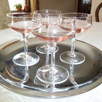 Vintage Mid Century Modern Pink Champagne Glasses, Set of Four, Crystal Stem Ware, Champagne Wedding Toast Glasses