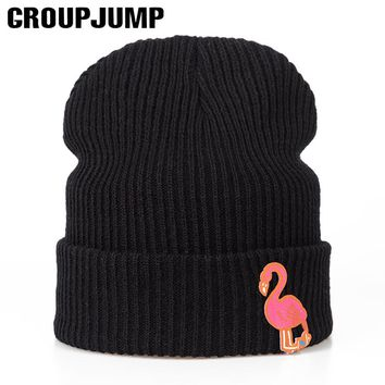 Fashion Animal Pattern Knitted Hat For Women Men Autunm Winter Knit Skullies Beanies With Flamingo Elastic Female Winter Hat