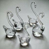 Swans Crystal Figurines, Glass, Vintage Russian Soviet Handmade Home decor set of 5