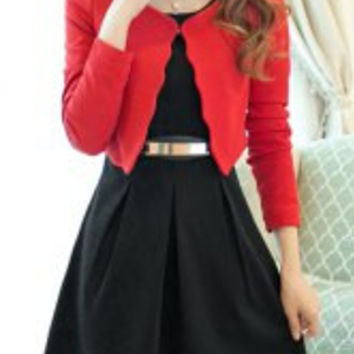 Graceful Scoop Collar Long Sleeve Solid Color Blazer + Faux Belt Embellished Dress Twinset For Women
