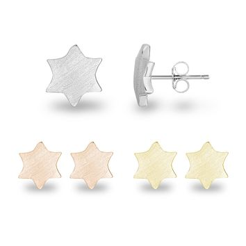 Geometric 6-Point Hexagram Star of David Sterling Silver Plain Matte Finish Stud Earrings