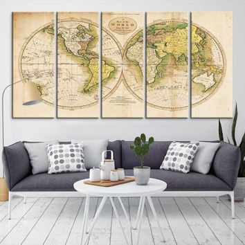 32798 - Large Wall Art World Map Canvas Print-  Antique World Map Travel Canvas Print- Modern XXL Large Wall Art World Map Canvas Print