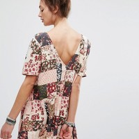 Motel Dress With Button Up Back In Patchwork Floral Print at asos.com
