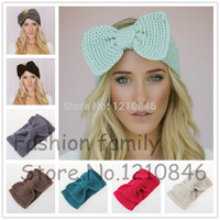 women Knitted Bow Headband Beanie Cute Bow Headband Hair accessories Winter Crochet Bow Knitted Headwrap Ear Warmer Hair Muffs