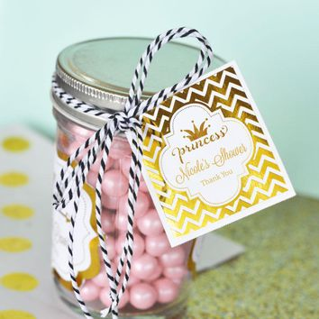 """Personalized Metallic Foil 2"""" Square Favor Labels & Tags - Baby"""