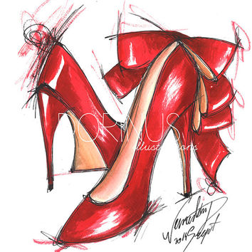 Fashion Illustration, Print ,of original  ,Shoes,Watercolor Painting, Red Wall Art