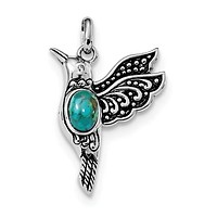 Sterling Silver Oxidized Recon. Turquoise Hummingbird Pendant