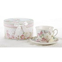 Delton Products Porcelain Tea Cup and Saucer with Gift Box, Butterfly