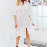 Band Of Gypsies Gauze Midi Shirt Dress- Ivory