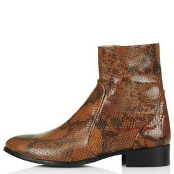 AERO Snake-Effect Sock Ankle Boots - Tan