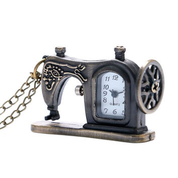 Pocket Watch Sewing Machine Design With Necklace Chain Stainless Metal Quartz Clock Special Gift For Men Women Children