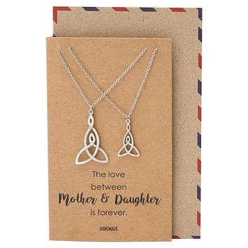 Valeria Mother Daughter Necklace, Infinity Necklace for Women and Mothers Day Card