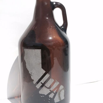 California IPA Beer Growler 64oz - Laser Engraved Growler- Groomsman, Birthday, Homebrew