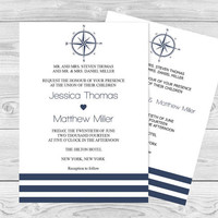 Compass Wedding Invitation Template - Navy Compass & Striped Printable Wedding Invitation Editable PDF - Instant Download DiY You Print