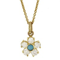 Large Diamond and Turquoise Flower Necklace - Yellow Gold