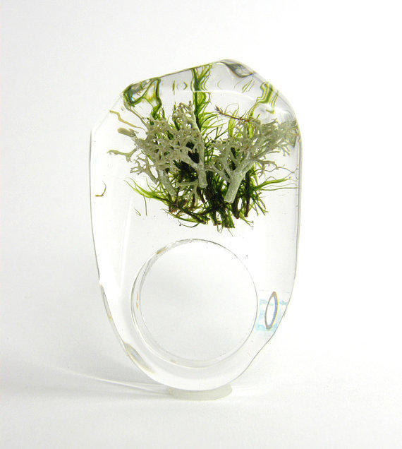 Clear resin ring with green and silver moss W1/ by sisicata