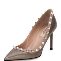 Valentino Rockstud 85mm Pebbled Leather Pump, Sasso/Poudre