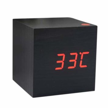 FJS-Wood Cube LED Alarm Control Digital Desk Clock Wooden Style Room Temperature White wood Red led