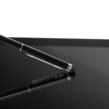Capacitive 2-in-1 Black Stylus and Ball Point Pen For Touch Screen Tablet Phone