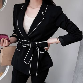Bow coat long-sleeved suit slim women blazer belt