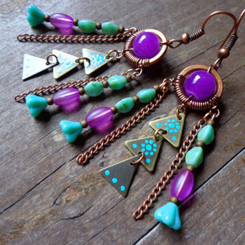 Geometric Tribal chandelier earrings, unique rustic painted brass triangle earrings, wire wrapped copper hoops, purple and turquoise gypsy