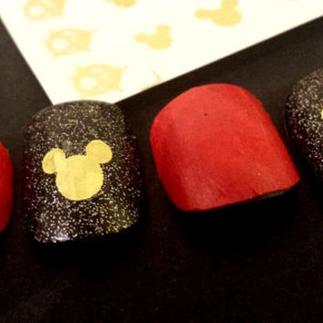 mickey mouse heads Gold Nail Art Jewellery Nail Decals G064
