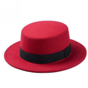 Wool Boater Flat Top Hat For Women's Felt Wide Brim Hat Laday Prok Pie Chapeu de Feltro Bowler Gambler Top Hat