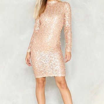 Backlash Midi Length Open Back Sequin Dress