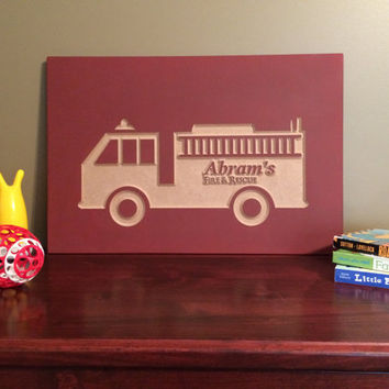 Custom Nursery Decor Fire Truck Sign Wood Wall Art Baby Room Decoration