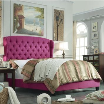 Becker Upholstered Wingback Panel Bed in Pink