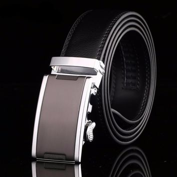 Men's Designer Leather Belt with Micro Adjust Buckle